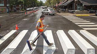Exemple de passage piéton en 3D, à Outremont, près de Montréal, Canada, photo d'archive du 10 juillet 2018