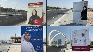 اللافتات الانتخابية في شوارع الدوحة في قطر تحسبا لانتخابات مجلس الشورى.