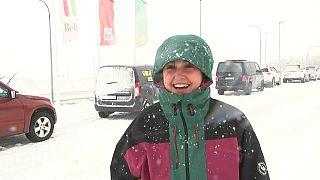 Icelander stuck in the snowstorm.