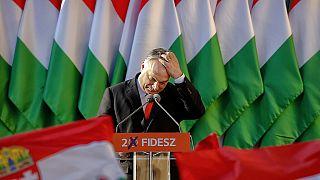 Viktor Orban à Szekesfehervar, Hongrie, le 6 avril 2018