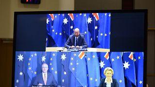 رئيس المجلس الأوروبي جورج ميشال يشارك في اجتماع عبر الفيديو ضم رئيسة المفوضية اورسولا فان دير لين ورئيس الوزراء الأسترالي سكوت موريسون. 2020/11/26