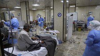 وحدة العناية المركزة في مستشفى الجمعية الطبية السورية الأمريكية في مدينة إدلب شمال غرب سوريا.