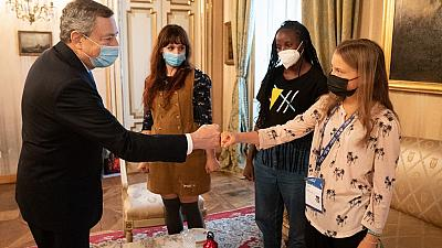 Italy's Prime Minister, Mario Draghi meeting with activists Greta Thunberg, Vanessa Nakate and Martina Comparelli on the sidelines of the Pre-COP 26 summit in Milan.