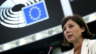 Vera Jourová 2021. szeptember 15-én az Európai Parlament strasbourgi épületében