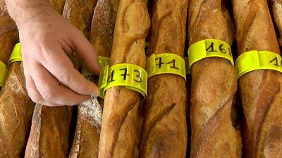 Baguettes await inspection at the 2021 Best Baguette Competition in Paris