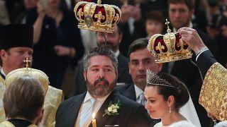 الزوجان الملكيان رومانوف خلال زفافهما في سانت بطرسبرغ، 1 أكتوبر 2021