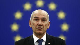 Slovenian Prime Minister Janez Jansa attends the presentation of the Slovenian Presidency in July.