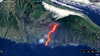 The lava flow from the Cumbre Vieja volcano on the Spanish island of La Palma, on Sept. 30, 2021.