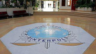 قاعة مدخل مقر الإنتربول في ليون، فرنسا