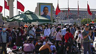 Nemzeti ünnep a pekingi Tienanmen téren 2021. október 1-én (illusztráció)