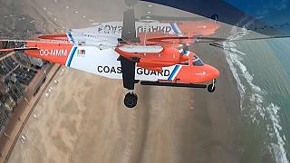 Sniffer plane flying over the beach of Ostend