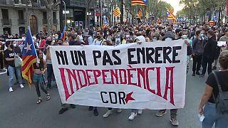 Manifestation des indépendantistes catalans à Barcelone, le 01/10/2021 - Capture d'écran d'une vidéo de la TVE via EBU