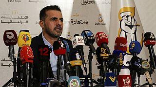 حسين مؤنس، رئيس حركة حقوق في مؤتمر صحفي في العاصمة العراقية بغداد،  2 تشرين الأول / أكتوبر 2021