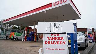 'No Fuel' signage is displayed at a closed filling station in Streatham Hill, south London, on October 2, 2021.