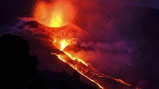 Imagen de la erupción del volcán Cumbre Vieja en La Palma