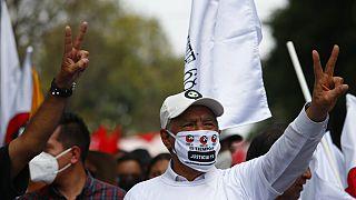 Manifestantes durante la marcha en Ciudad de México