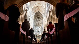 A mass in the Cathedral of Lucon, western France, on March 14, 2021, organised after a ceremony in tribute to child victims of sexual abuse by priests.