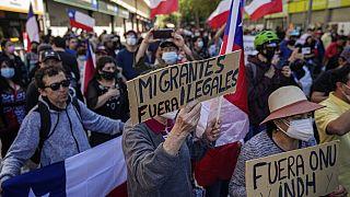 Manifestación antiinmigración en Santiago de Chile