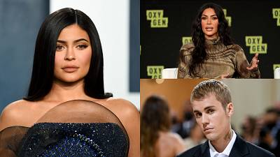 From left to right, clockwise: Kyle Jenner, Kim Kardashian and Justin Bieber.