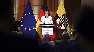 Kanzlerin Angela Merkel während ihrer Einheitsrede in Halle