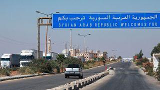 معبر نصيب/جابر بين سوريا والأردن يوم إعادة افتتاحه في 29/09/2021