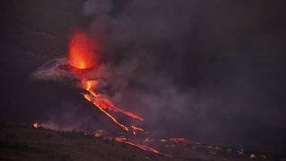 Thermal camera images of Cumbre Vieja volcano and lava flows on Spain's La Palma