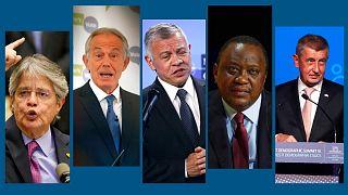 De gauche à droite : Guillermo Lasso, Tony Blair, Abdallah II, Uhuru Kenyatta, Andrej Babis