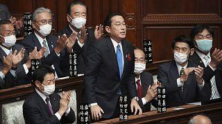 Fumio Kishida, après son élection au poste de Premier ministre par les députés de la Chambre des représentants, le 4 octobre 2021