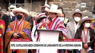 Pedro Castillo, presidente de Perú, en Cusco, en el lanzamiento de la segunda reforma agraria