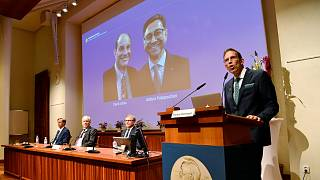 Annonce des lauréats du Nobel de médecine 2021 attribués aux Américains David Julius et Ardem Patapoutian, le 4 octobre 2021 , à Stockholm
