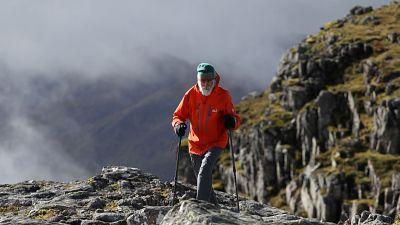 Climber Nick Gardner ascends Buachaille Etive Mor in Scotland, Britain September 29, 2021.