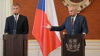 Czech President Milos Zeman (R) and Prime Minister Andrej Babis (C) on June 6, 2018.