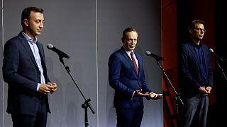 CDU's Paul Ziemiak, FDP's Volker Wissing & CSU's Markus Blume speak to the media following coalition talks, in Berlin on October 3, 2021.