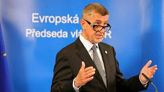Czech Republic's Prime Minister Andrej Babis makes a statement on video during the EU Council summit in Brussels, Belgium, July 20, 2020