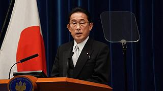 Japan's new Prime Minister Fumio Kishida speaks during a news conference at the prime minister's official residence in Tokyo on October 4, 2021.