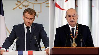 الرئيس الفرنسي إيمانويل ماكرون والرئيس الجزائري عبد المجيد تبون في صورتين منفصلتين