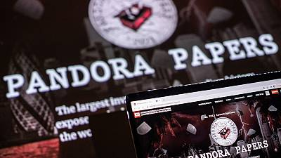 This photograph illustration shows the logo of Pandora Papers on October 4, 2021.