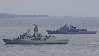 Περιπολία του πολεμικού ναυτικού της Τουρκίας στα Δαρδανέλια - φώτο αρχείου