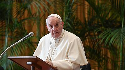 """Pope Francis addresses the meeting """"Faith and Science: Towards COP26"""" on October 4, 2021 in The Vatican."""