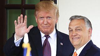 Donald Trump akkori amerikai elnök és Orbán Viktor magyar miniszterelnök találkozójukon a Fehér Házban.