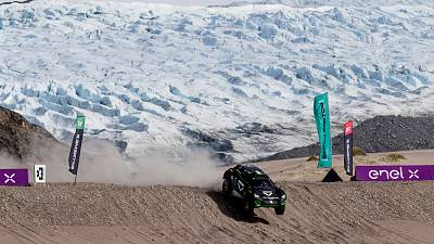 One of the cars taking part in the inaugural Arctic X-Prix, with Russell Glacier in the background. This was the first ever motorsport race to take place in Greenland.