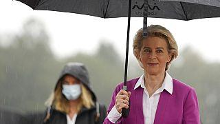 European Commission President Ursula von der Leyen arrives for an EU summit at the Brdo Congress Center in Kranj, Slovenia, Wednesday, Oct. 6, 2021