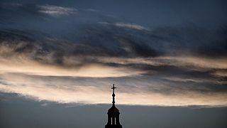 Le clocher d'une église de Lyon (France) photographiée le mardi 5 octobre 2021