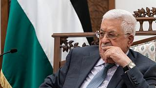 الرئيس الفلسطيني محمود عباس في مدينة رام الله بالضفة الغربية.