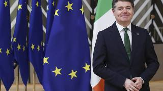 Ireland's Finance Minister Paschal Donohoe at the European Council building in Brussels, Feb 22, 2021.