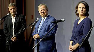 Koalitionsgespräche in Berlin: Habeck, Laschet, Baerbock