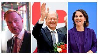 De gauche à droite : Christian Lindner (chef du FDP, libéral), Olaf Scholz (chef du SPD, sociaux-démocrates) et Annalena Baerbock (cheffe des Verts)