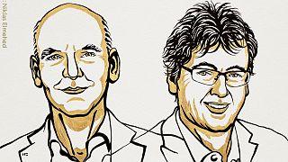 Caricaturas de Benjamin List (Izquierda) y David W.C. MacMillan (derecha)