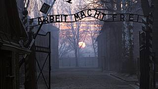 Picture taken 12 January 2005 shows the main gate entering the Nazi Auschwitz death camp.