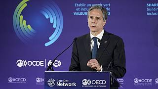 Secretary of State Antony Blinken speaks during a Blue Dot Network Discussion at the OECD Ministerial Council Meeting on October 5, 2021, in Paris.